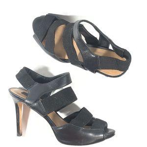 ANN TAYLOR BLack Stilleto Heel wide elastic straps